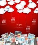 与平的样式的理想的云彩技术背景 免版税库存图片