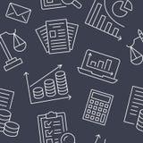 与平的线象的财务会计无缝的样式 簿记背景,税优化,贷款,工资单 免版税库存照片