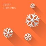 与平的设计的现代橙色圣诞卡 免版税图库摄影