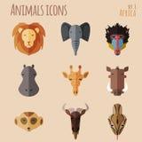 与平的设计的非洲动物画象集合 免版税图库摄影