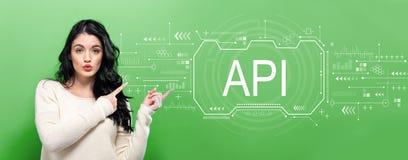 与年轻女人的API概念 免版税库存照片