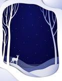 与幼小鹿,与bambi的纸冬天童话背景的纸冬天森林夜风景, 向量例证