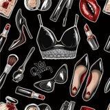 与庄稼上面,嘴唇,鞋子,唇膏,太阳镜,刷子的无缝的样式 皇族释放例证