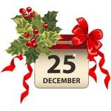 与庆祝标志的圣诞节日历 免版税库存照片