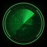 与座标的军事雷达绿色显示-例证的 免版税库存图片