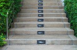 与庭院的楼梯 免版税库存照片
