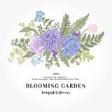 与庭院的花束开花和在葡萄酒样式的叶子 库存例证