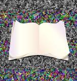 与开放书和空的页的抽象milticolor装饰品 库存例证