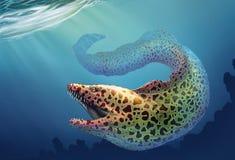 与开放嘴和针的锋利的牙齿厚实的行的海鳝大海鳝  向量例证