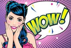 与开放嘴的惊奇的妇女面孔与有小点背景流行艺术漫画样式的桃红色嘴唇 向量例证