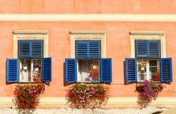与开放木快门和鲜花的葡萄酒窗口 图库摄影