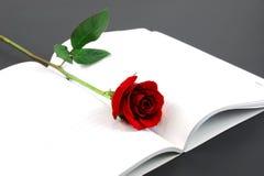 与开放笔记本的唯一红色玫瑰在黑背景 图库摄影