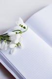 与开放笔记本的美好的白色snowdrops在白色背景 图库摄影