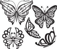 与开放翼的剪影蝴蝶和精美 免版税库存照片