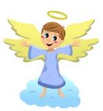 与开放胳膊的天使孩子 免版税库存图片