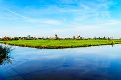 与开放领域、运河和荷兰风车的典型的荷兰风景 图库摄影