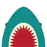 与开放嘴和锋利的牙齿的鲨鱼 向量例证