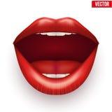 与开放嘴唇的妇女嘴 免版税库存照片