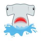 与开放嘴的双髻鲨 他跳出水 库存图片