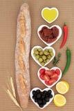与开胃小菜的法国长方形宝石 库存图片