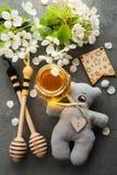 与开花和木匙子的蜂蜜 库存图片