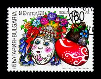 与开花的帽子,复活节serie的被绘的复活节彩蛋,大约1999年 免版税库存图片