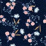与开花的时髦的无缝的桃红色花卉样式,花  皇族释放例证