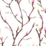 与开花的树枝的无缝的样式 库存例证