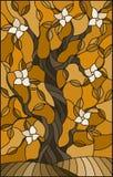 与开花的树的彩色玻璃例证,定调子褐色,乌贼属 皇族释放例证
