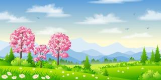 与开花的树的春天风景 库存例证