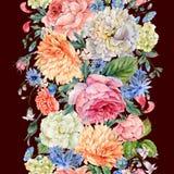 与开花的牡丹,玫瑰的水彩无缝的垂直的边界 向量例证
