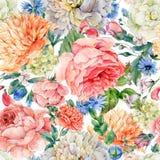 与开花的牡丹,玫瑰的水彩无缝的样式 库存例证