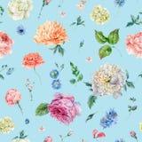 与开花的牡丹,玫瑰的水彩无缝的样式 向量例证
