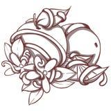与开花的花的桔子 免版税库存图片
