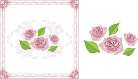 与开花的风格化桃红色玫瑰的装饰框架 免版税库存图片