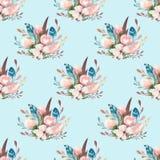 与开花花和叶子,春天自然例证的无缝的boho水彩墙纸 葡萄酒设计为 免版税图库摄影