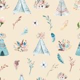 与开花花和叶子,春天自然例证的无缝的boho水彩墙纸 葡萄酒设计为 免版税库存照片