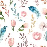 与开花花和叶子,春天自然例证的无缝的boho水彩墙纸 葡萄酒设计为 库存照片