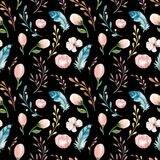 与开花花和叶子,春天自然例证的无缝的boho水彩墙纸 葡萄酒设计为 库存图片