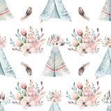 与开花花和叶子,春天自然例证的无缝的boho水彩墙纸 葡萄酒设计为 免版税库存图片