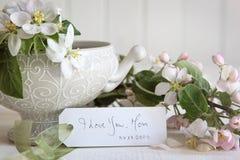 与开花花的礼品券在花瓶 免版税图库摄影