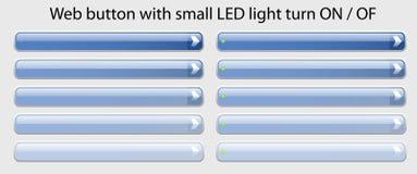 与开-关小的LED光的轮的万维网按钮 库存照片