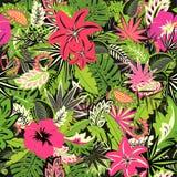 与异乎寻常的花的热带无缝的霓虹墙纸和叶子和桃红色火鸟织品的,纺织品,包装纸,招呼加州 皇族释放例证