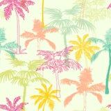 与异乎寻常的传染媒介棕榈树加利福尼亚桃红色绿色黄色无缝的样式表面设计,装饰,手拉 免版税库存图片