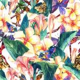 与异乎寻常的花的热带无缝的样式 图库摄影