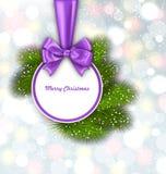 与弓丝带的圣诞快乐典雅的卡片 免版税库存照片