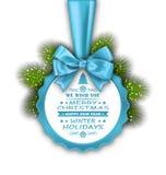 与弓丝带的圣诞快乐典雅的卡片 免版税库存图片