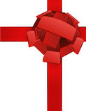 与弓传染媒介的三维红色丝带 免版税库存图片