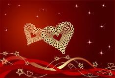与弓和心脏的红色华伦泰背景。 免版税库存图片