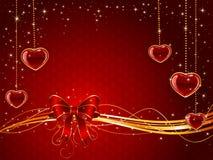 与弓和心脏的红色华伦泰背景 库存照片